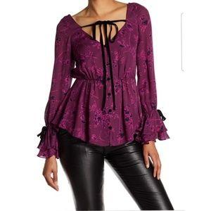 Cinq a Sept Silk Floral Button Up Blouse Top